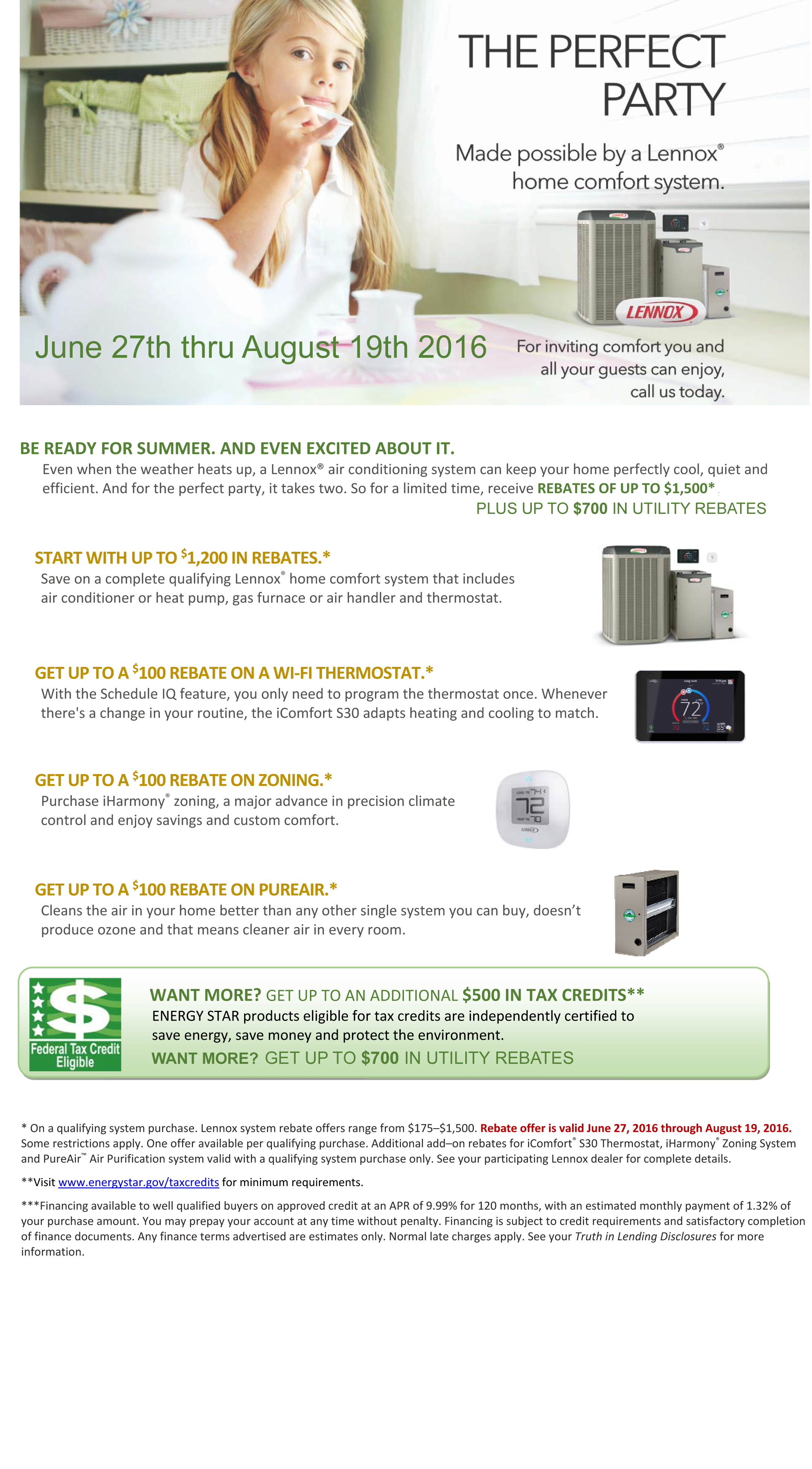 Summer 2016 Lennox Promotion Heating And Air